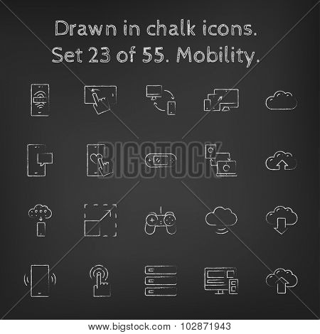 Mobility icon set hand drawn in chalk on a blackboard vector white icons on a black background.