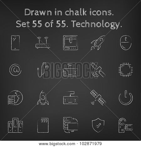 Technology icon set hand drawn in chalk on a blackboard vector white icons on a black background.