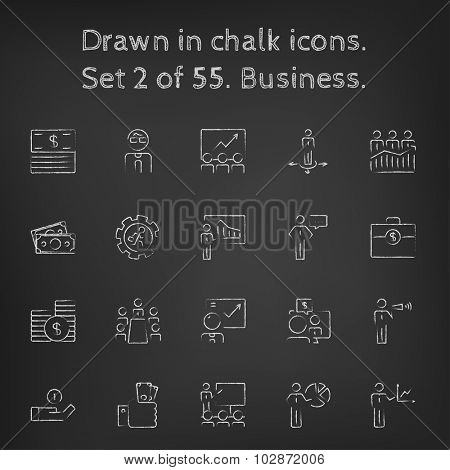 Business icon set hand drawn in chalk on a blackboard vector white icons on a black background.