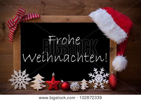 Brown Blackboard Santa Hat Frohe Weihnachten Mean Christmas