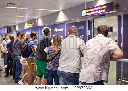 BORISPOL, UKRAINE - SEPTEMBER, 09, 2015: People meet relatives at the airport