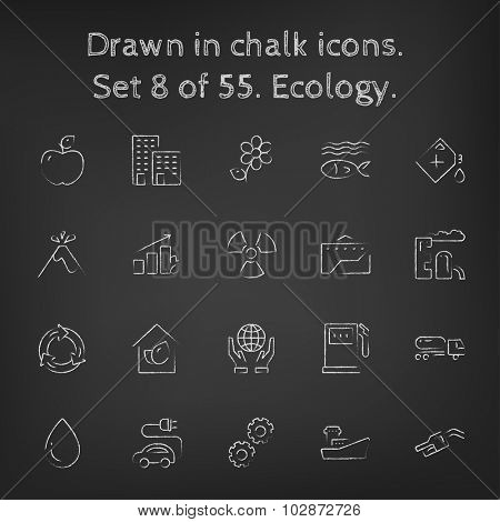 Ecology icon set hand drawn in chalk on a blackboard vector white icons on a black background.