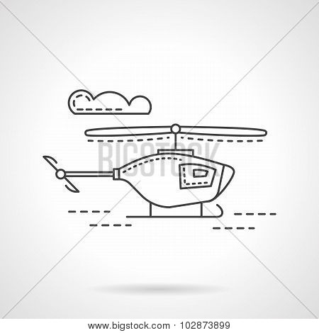 Flat line military copter vector icon