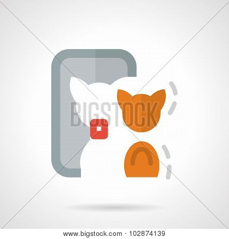 Abstract flat color vector icon for cat selfie
