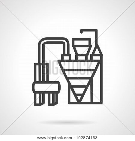 Cement factory machinery simple line vector icon