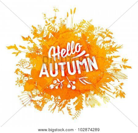 Autumn foliage abstract vector banner. Typographic greeting card design