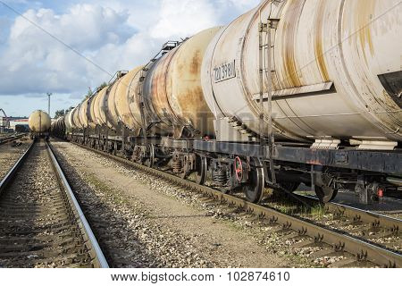 Railroad Transportation. Freight Cars In A Row