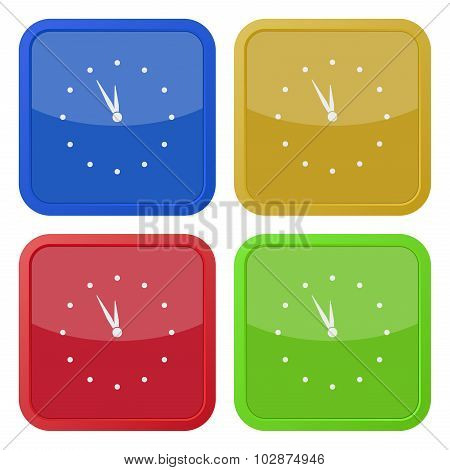 Set Of Four Square Icons - With Clock