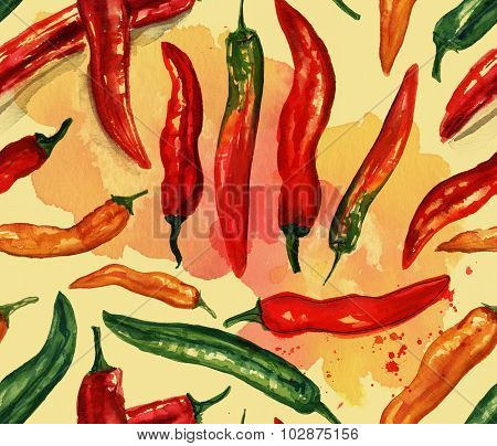 Seamless watercolor chili peppers of various colors background pattern, toned