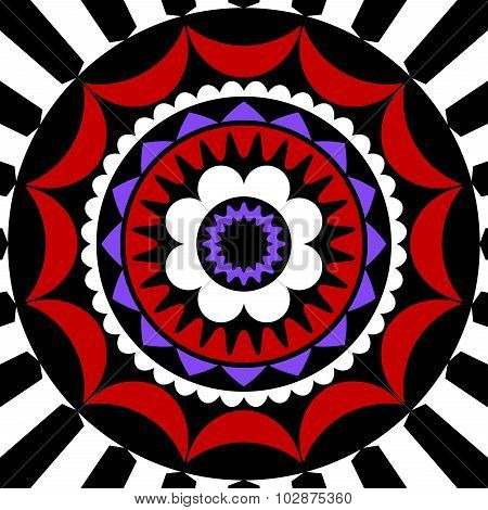Red, Purple, White And Black Mandala