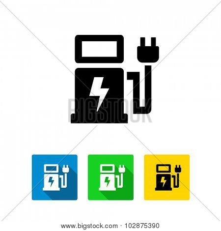 Electric Car Charging Station Vector Icon