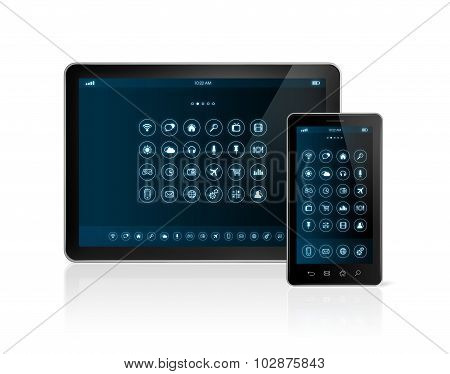 Digital Tablet Pc And Smartphone With Apps Icons Interface