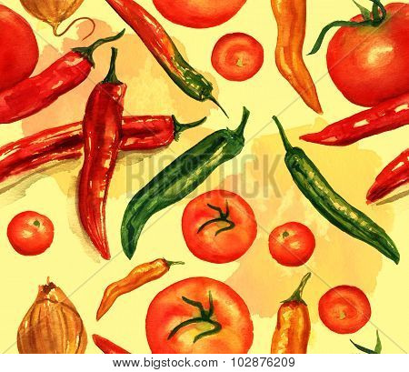 Seamless watercolour pattern of vegetables drawings