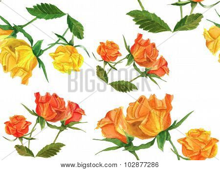 Vintage watercolour roses seamless background pattern