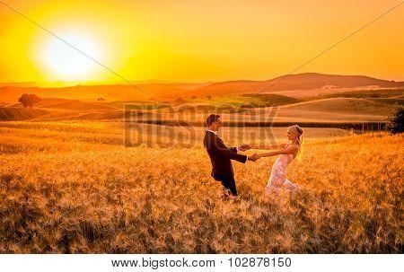 Newlyweds And Tuscan Landscape