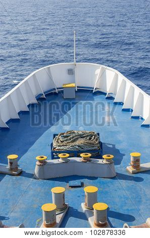 Large ship bow in open sea