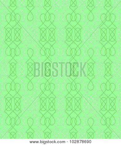 Seamless Pattern In Green And White With Interwoven Elements. Vector Illustration