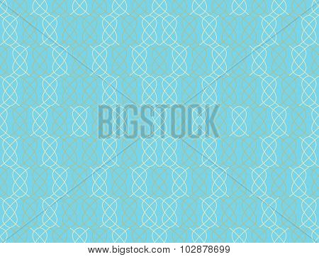 Seamless Pattern In Turquoise And Brown With Interwoven Elements. Vector Illustration