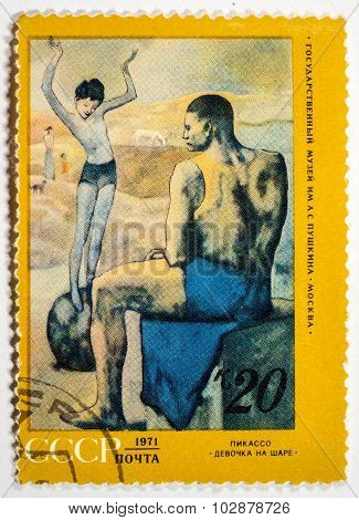 Ussr - Circa 1971: A Postage Stamp Printed In The Ussr Shows Girl On The Ball By Picasso, Circa 1971
