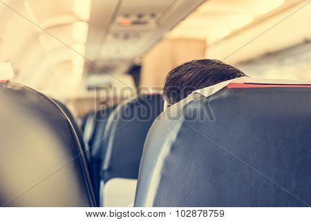 Airplane interior.