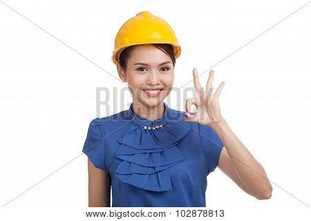 Asian Engineer Woman Show Ok Sign