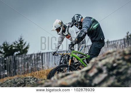 training run of downhill racers