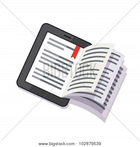 Tablet computer concept with book turning pages
