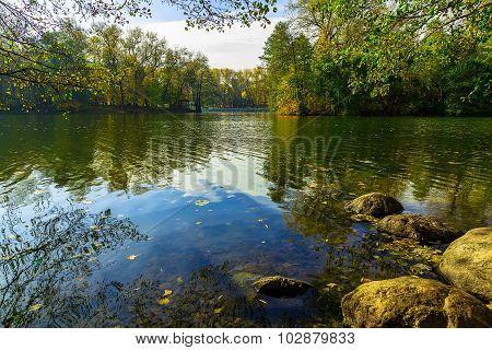 Autumn Landscape Trees Surrounding Lake