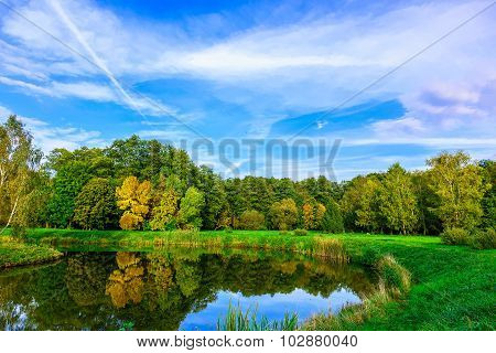 Autumn Nature With Multicolored Trees, Green Grass At Lake