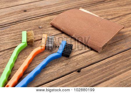 Wire Brush Sandpaper Equipment Background Wood Teak Still Life