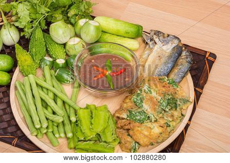 Chili Paste And Egg With Fried Mackerel