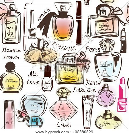 Fashion Seamless Pattern With Of Different Perfumes