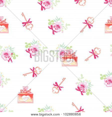Cute Perfume Bottles And Secret Keys Floral Seamless Vector Pattern
