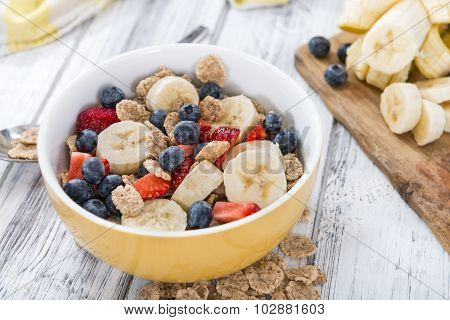 Portion Of Cornflakes With Fresh Fruits