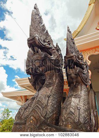 Naka Dragon Statue In A Public Temple, Wat Pa Phu Kon,thailand
