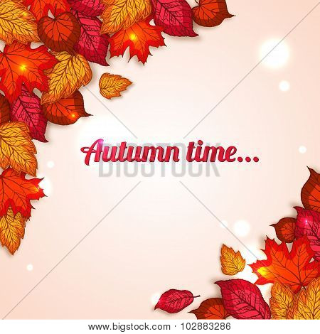 Autumn background with shining foliage.  Autumn sale, autumn leaves,  autumn time. Photorealistic de