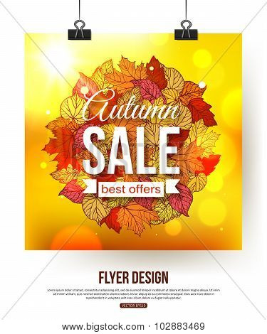 Autumn sale flyer with shining foliage.  Autumn sale, autumn leaves,  autumn time.  Photorealistic d