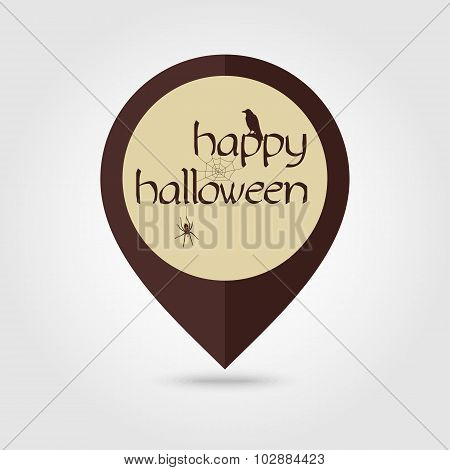 Happy Halloween Mapping Pin Icon Spider, Raven