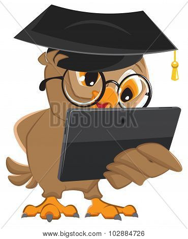 Owl teacher holds tablet computer