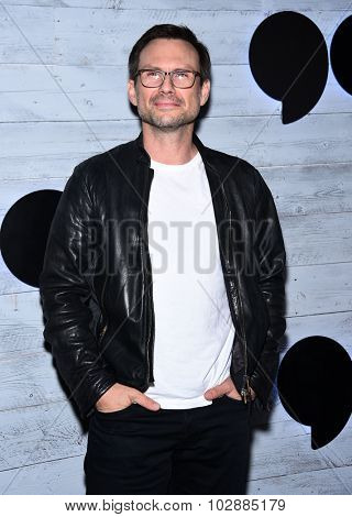 LOS ANGELES - SEP 24:  Christian Slater arrives to the Go90 Sneak Peek  on September 24, 2015 in Hollywood, CA.