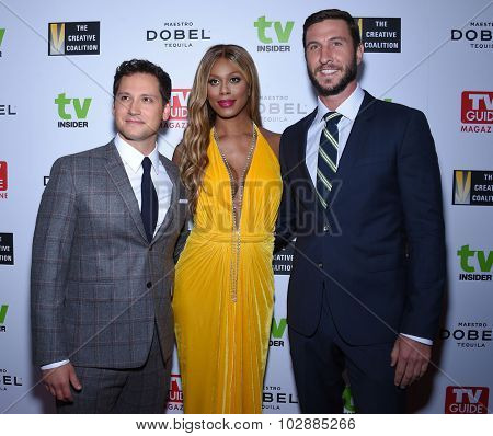 LOS ANGELES - SEP 18:  Matt McGorry, Laverne Cox & Pablo Schreiber Television Industry Advocacy Awards  on September 18, 2015 in Hollywood, CA