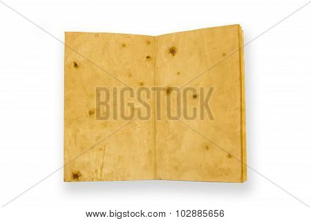 Open Old Vintage Book Isolated On White Background. Two Clean Sheet Of Paper.