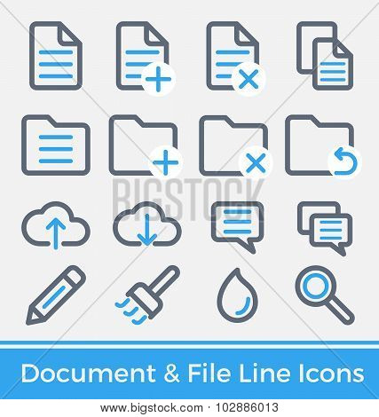 File And Directory Management Thick And Thin Line Icons Design.