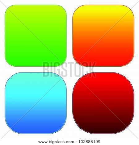 Colorful Button Templates With Blank Space, Rounded Corners.