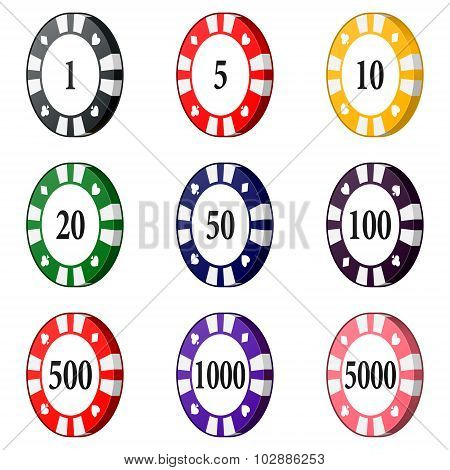 Set Of Colorful Casino Chips Isolated On A White Background.