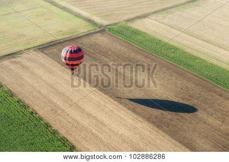 Aerial view of an hot air balloon