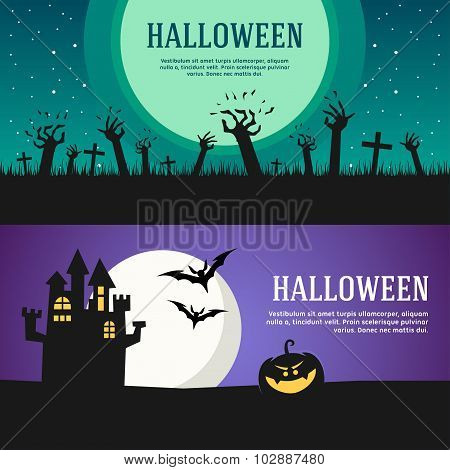 Set Of Halloween Web Banners. Design Concepts For Web Banners And Promotional Materials