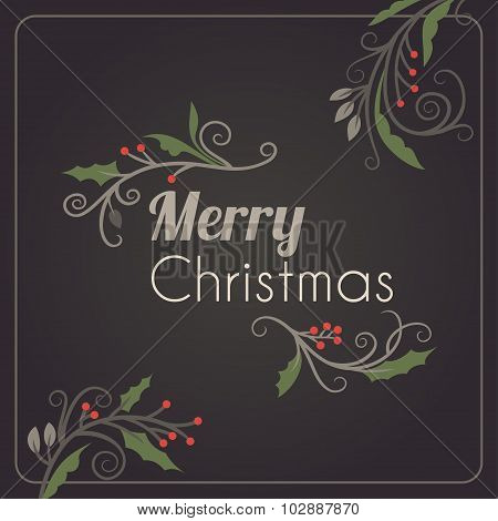 Christmas Postcard Ornament Decoration Background. Vector Illustration. Merry Christmas Greetings