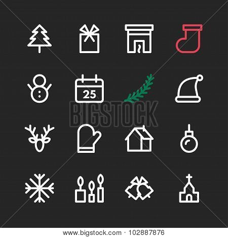 Line Art Christmas And New Year Icon Set. Vector Illustration