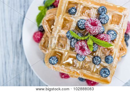 Waffles With Mixed Berries And Honey